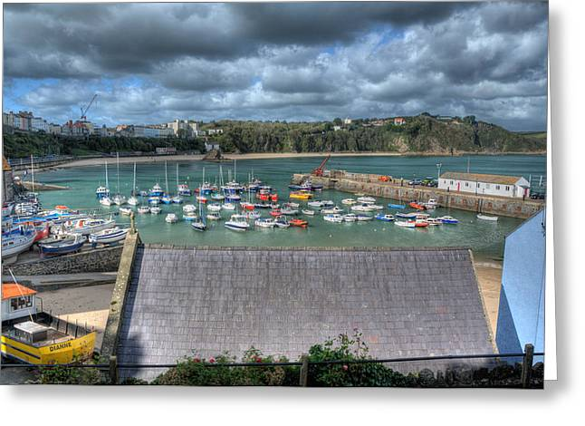 Greeting Card featuring the photograph Tenby Harbour Pembrokeshire 1 by Steve Purnell