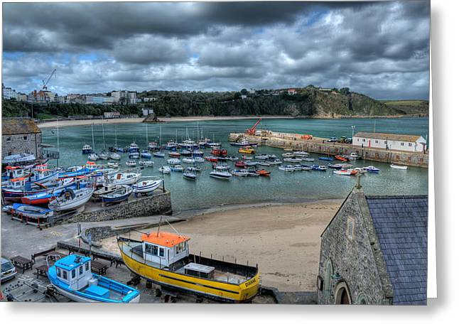 Greeting Card featuring the photograph Tenby Harbour Pembrokeshire 2 by Steve Purnell