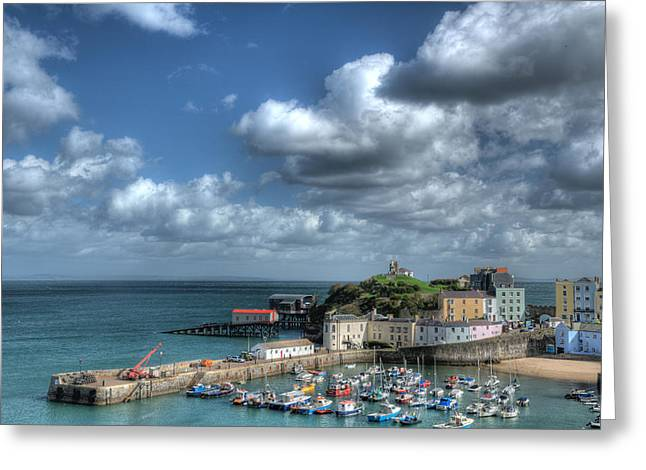 Greeting Card featuring the photograph Tenby Harbour Pembrokeshire 3 by Steve Purnell