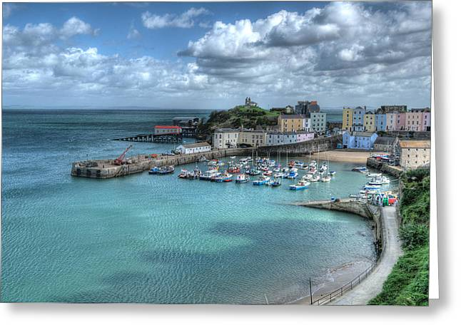 Greeting Card featuring the photograph Tenby Harbour Pembrokeshire 4 by Steve Purnell