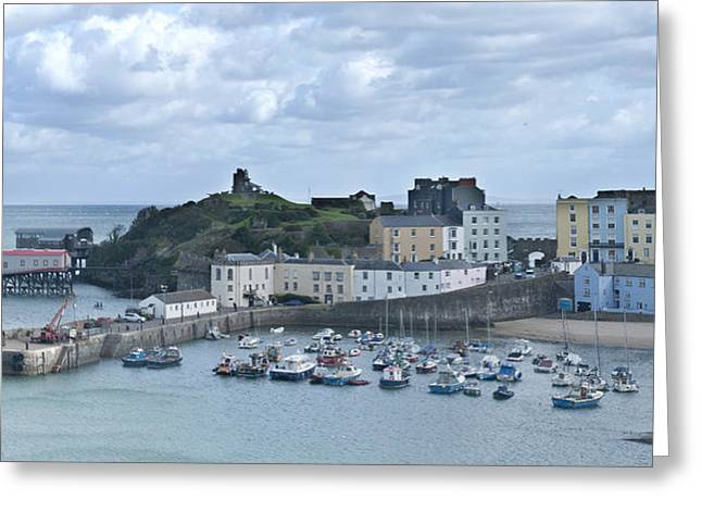 Greeting Card featuring the photograph Tenby Harbour Pembrokeshire Panorama by Steve Purnell