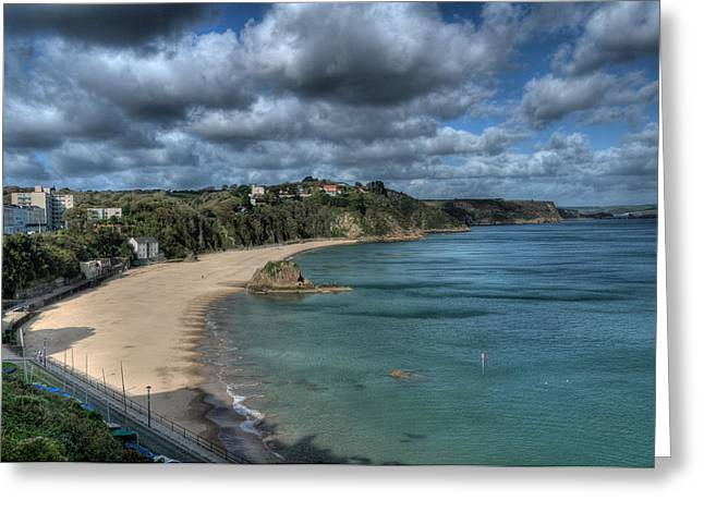 Greeting Card featuring the photograph Tenby North Beach Pembrokeshire  by Steve Purnell