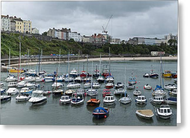 Greeting Card featuring the photograph Tenby Panorama by Steve Purnell