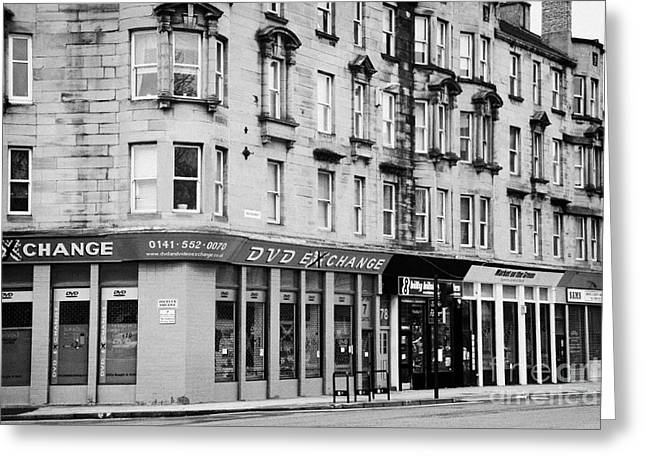 Tenement Buildings And Shops On Saltmarket Glasgow Scotland Uk Greeting Card by Joe Fox