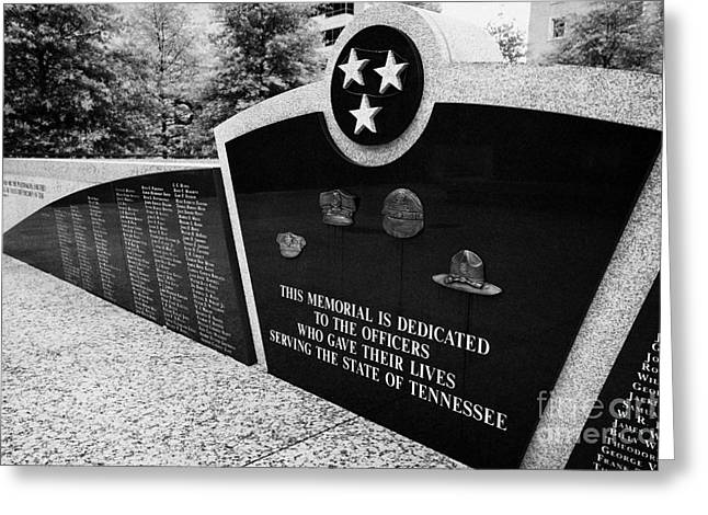 tennessee state police officer memorial war memorial plaza Nashville Tennessee USA Greeting Card by Joe Fox