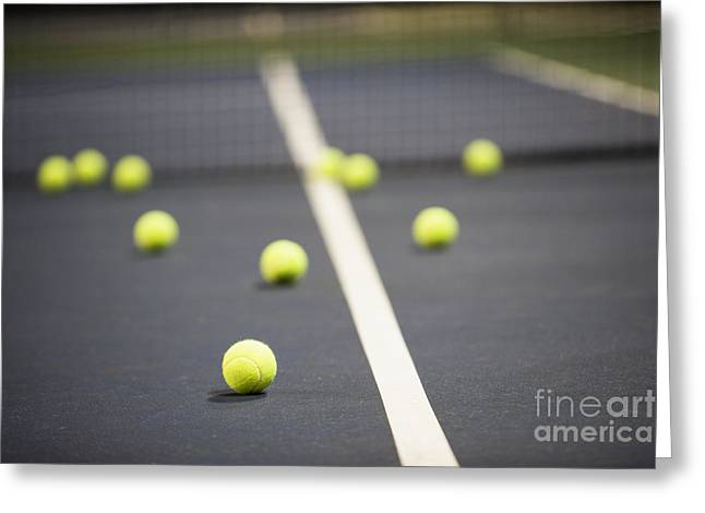 Court tennis greeting cards page 4 of 16 fine art america tennis balls on a tennis court greeting card m4hsunfo