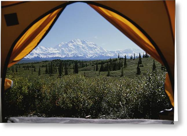 Tent Flaps Open To A Breathtaking View Greeting Card