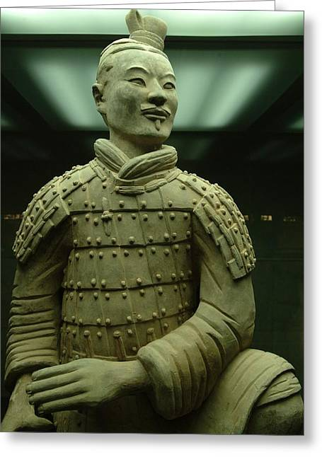 Terra Cotta Warrior Excavated At Qin Greeting Card by Richard Nowitz