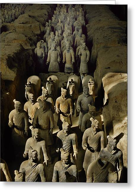 Terracotta Warriors And Horses March Greeting Card by O. Louis Mazzatenta