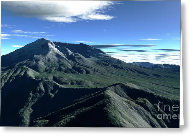 Terragen Render Of Mt. St. Helens Greeting Card by Rhys Taylor