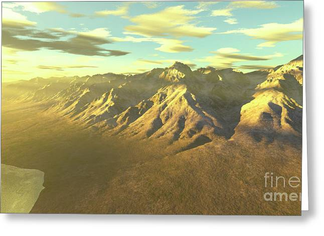 Terragen Render Of Mt. Whitney Greeting Card by Rhys Taylor
