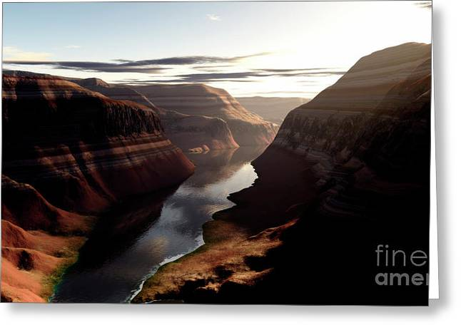 Terragen Render Of Trail Canyon Greeting Card by Rhys Taylor