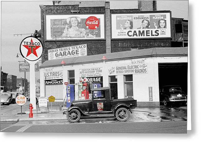 Texaco Station Greeting Card by Andrew Fare