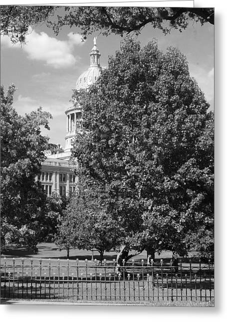 Texas Capitol Building In Austin Bw Greeting Card
