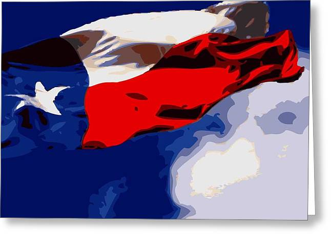 Texas Flag In The Wind Color 16 Greeting Card by Scott Kelley