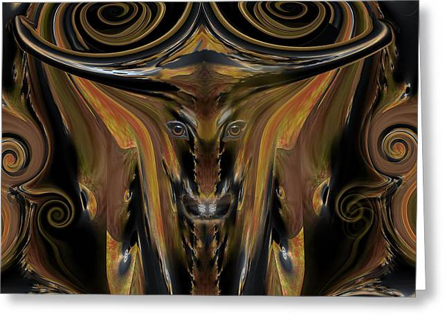 Texas Longhorn Abstract Digital Painting Greeting Card by Heinz G Mielke