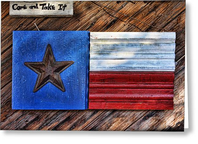 Texas Wood Plaques Greeting Card by Linda Phelps