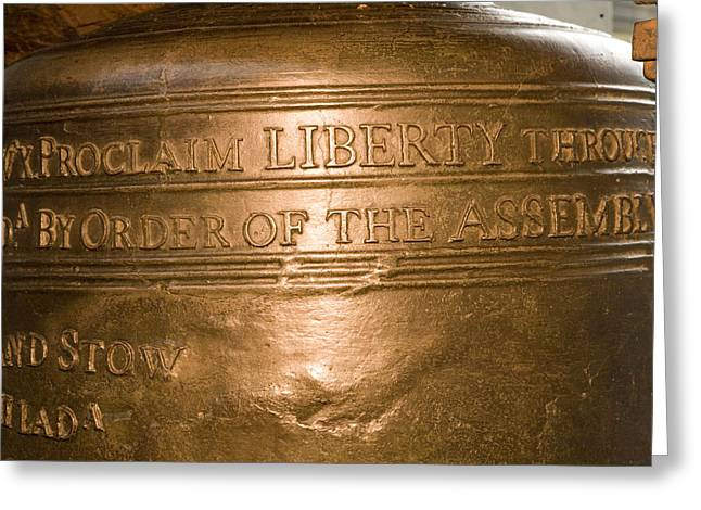 Text On The Liberty Bell Greeting Card by Tim Laman
