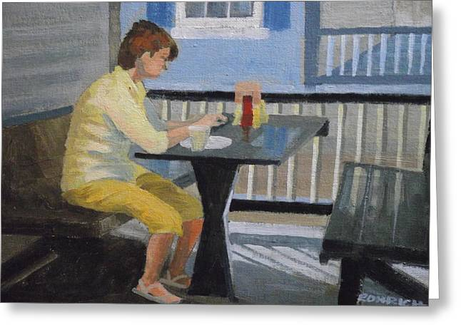 Texting At Breakfast Greeting Card by Robert Rohrich