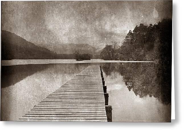 Textured Lake Greeting Card by Bernard Jaubert