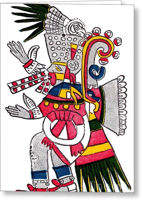 Tezcatlipoca, Aztec God Of Night, Codex Greeting Card by Photo Researchers