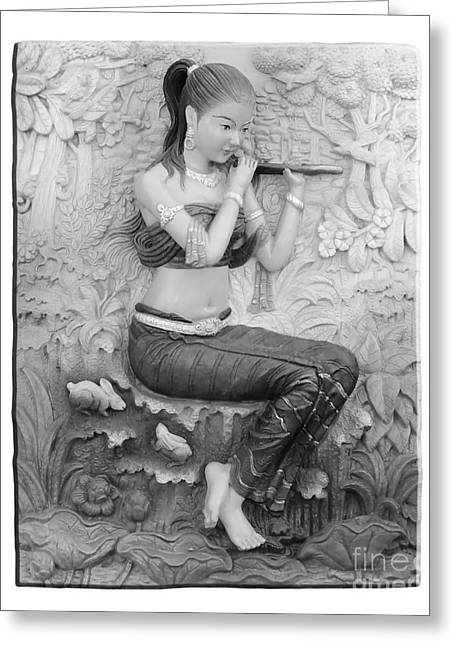 Thai Style Bas-relief Decorated On  Wall  Greeting Card by Phalakon Jaisangat