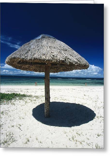 Thatch Palapa Umbrella On Beach Greeting Card by James Forte
