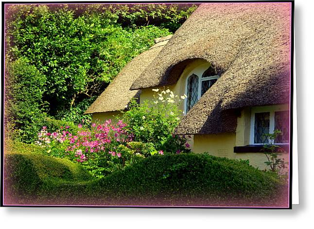 Thatched Cottage With Pink Flowers Greeting Card by Carla Parris