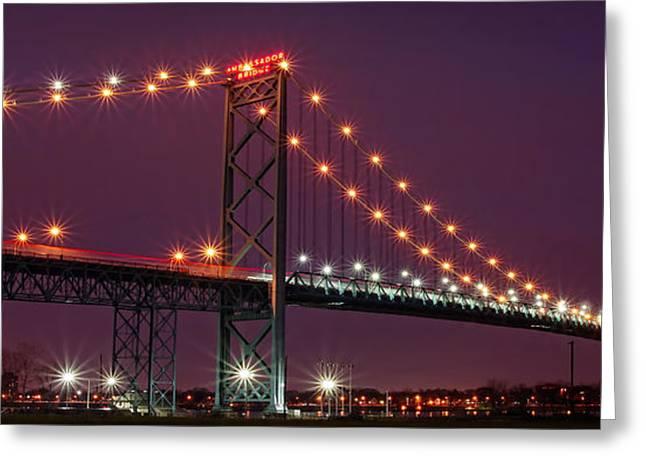 The Ambassador Bridge At Night - Usa To Canada Greeting Card