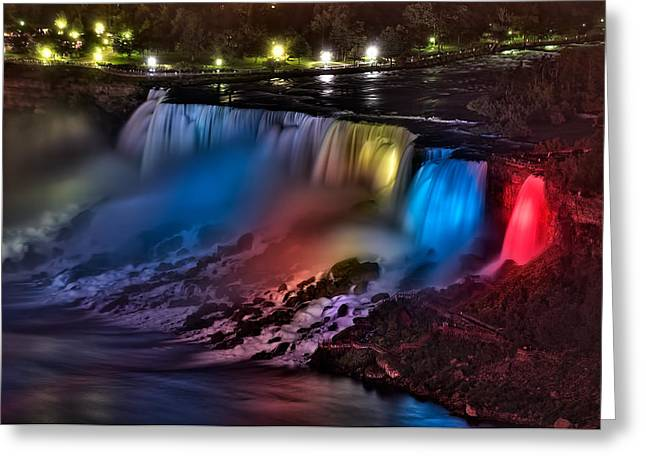 The American Falls Illuminated With Colors Greeting Card
