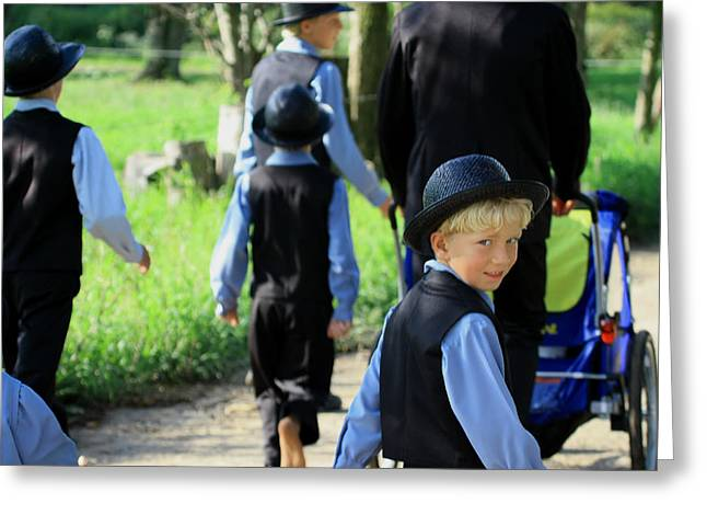 The Amish Boy Greeting Card by Dennis Pintoski