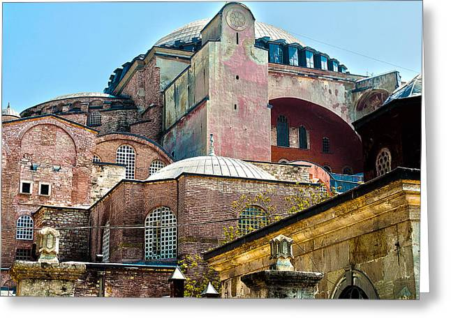 The Ancient Hagia Sophia Greeting Card by MaryJane Armstrong