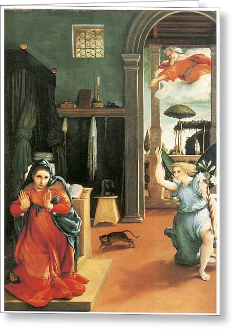 The Annunciation Greeting Card by Lorenzo Lotto