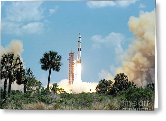 The Apollo 16 Space Vehicle Is Launched Greeting Card by Stocktrek Images