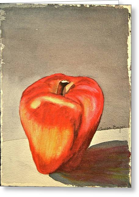Greeting Card featuring the painting The Apple Of by Teresa Beyer