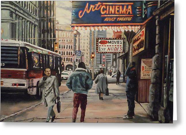 Greeting Card featuring the painting The Art Cinema In The 80s. by James Guentner