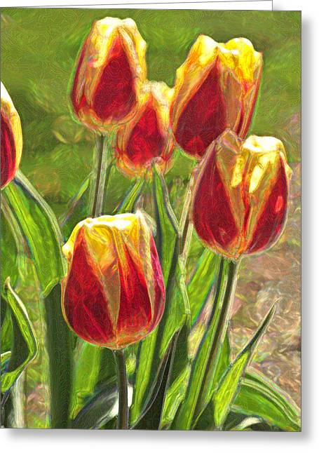 Greeting Card featuring the photograph The Artful Tulips by Nancy De Flon