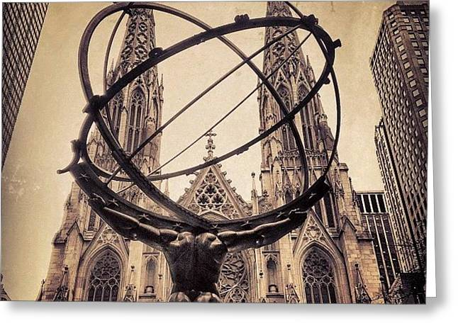 The Atlas & St. Patrick's Cathedral - Greeting Card