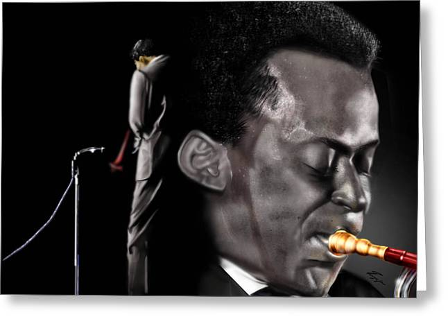 The Back And The Affront Of Miles Davis Greeting Card by Reggie Duffie