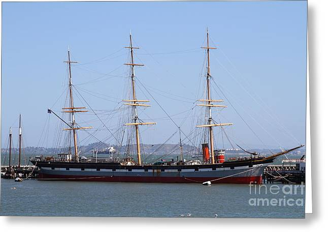 The Balclutha . A 1886 Square Rigged Cargo Ship At The Hyde Street Pier In Sf California . 7d14069 Greeting Card by Wingsdomain Art and Photography