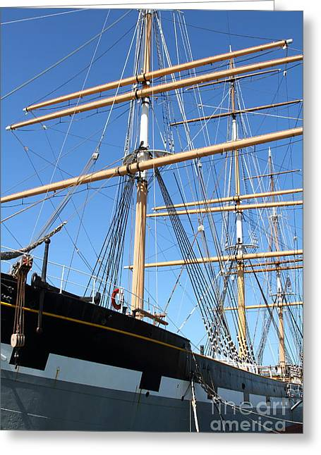 The Balclutha . A 1886 Square Rigged Cargo Ship At The Hyde Street Pier In Sf California . 7d14135 Greeting Card by Wingsdomain Art and Photography