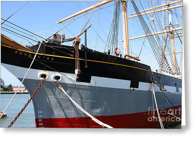 The Balclutha . A 1886 Square Rigged Cargo Ship At The Hyde Street Pier In Sf California . 7d14136 Greeting Card by Wingsdomain Art and Photography