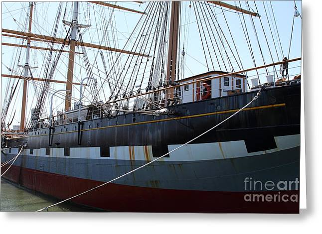 The Balclutha . A 1886 Square Rigged Cargo Ship At The Hyde Street Pier In Sf California . 7d14153 Greeting Card by Wingsdomain Art and Photography