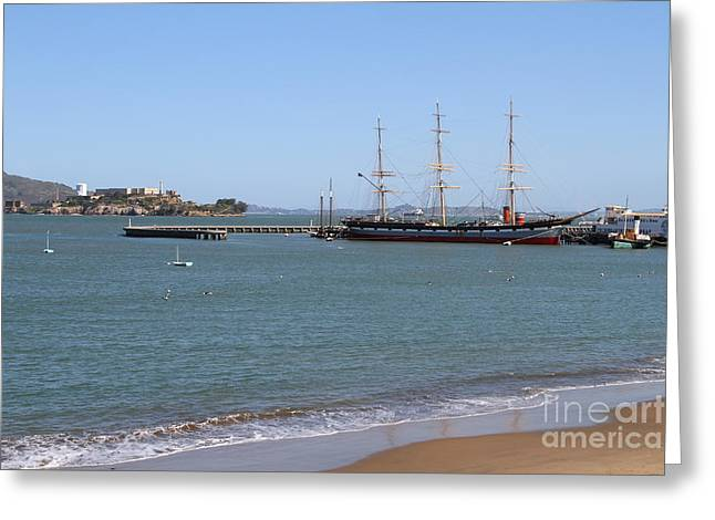 The Balclutha . A 1886 Square Rigged Cargo Ship At The Hyde Street Pier Overlooking Alcatraz.7d14068 Greeting Card by Wingsdomain Art and Photography