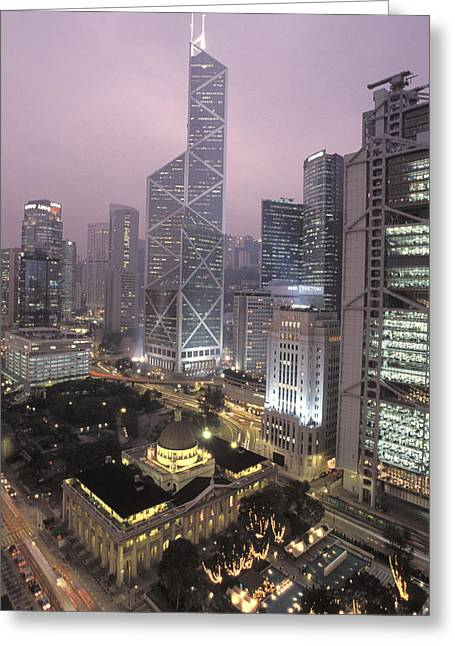 The Bank Of China Tower Greeting Card by Richard Nowitz