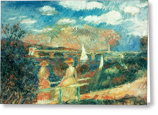 The Banks Of The Seine At Argenteuil Greeting Card by Pierre Auguste Renoir
