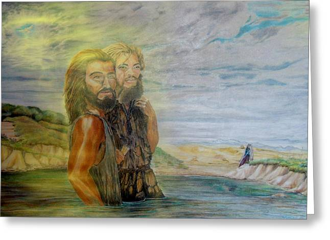 The Baptism Of Yeshua Messiah Greeting Card by Anastasia Savage Ealy