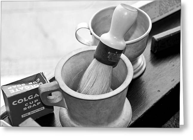 The Barber Shop 5 Bw Greeting Card by Angelina Vick