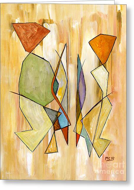 Modern Art Beige Orange Green Abstract Color Blocks Barcelonian Couple Greeting Card by Marie Christine Belkadi