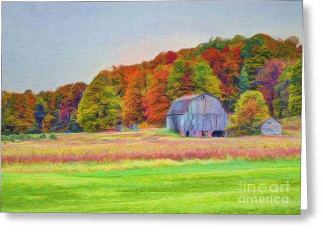 The Barn In Autumn Greeting Card by Michael Garyet